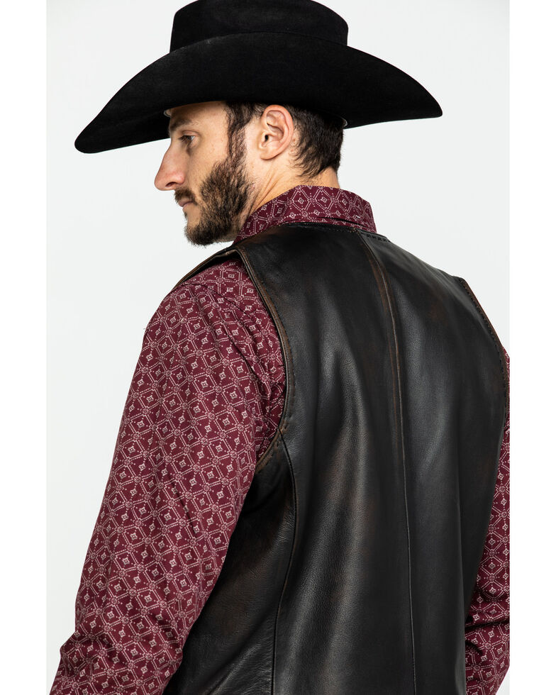 Scully Leatherwear Men's Leather Buck Stitch Vest , Brown, hi-res