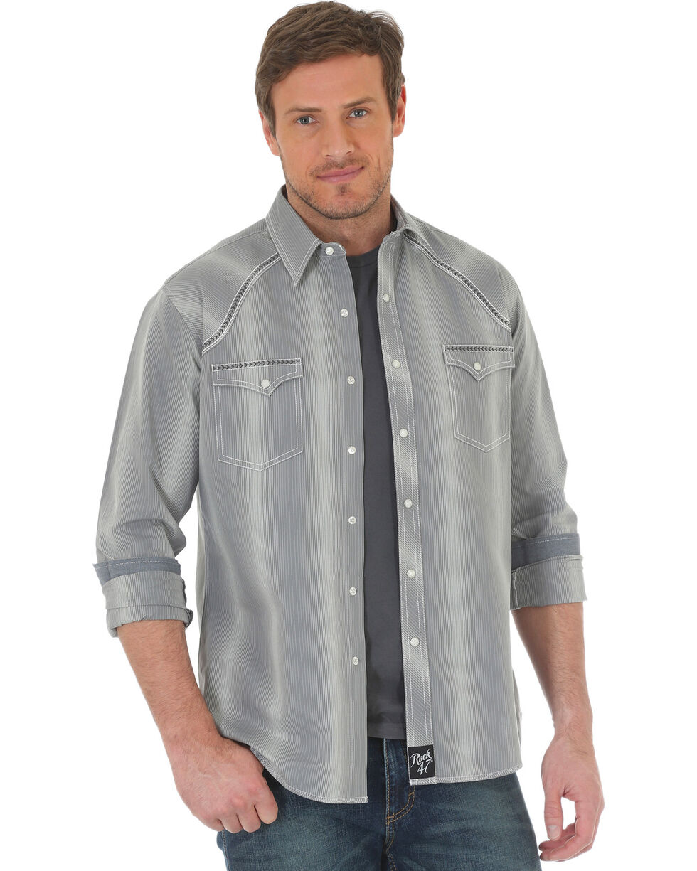 Rock 47 by Wrangler Men's Vertical Stripe Long Sleeve Snap Shirt, Grey, hi-res