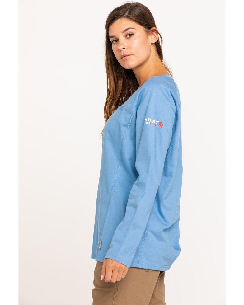 Ariat Women's Steel Blue Heather Air Crew FR T-Shirt, Blue, hi-res
