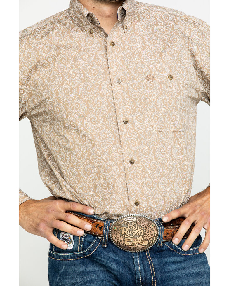 George Strait by Wrangler Men's Tan Large Paisley Print Long Sleeve Western Shirt - Big , Tan, hi-res