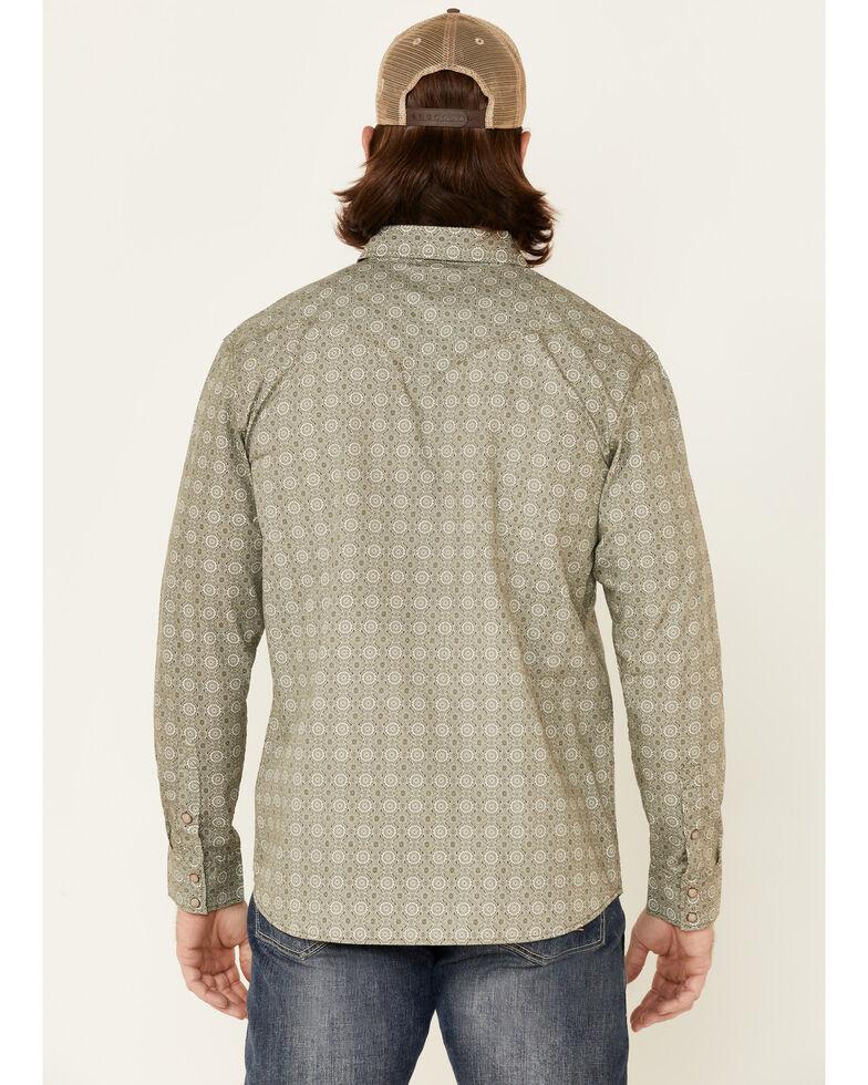 Moonshine Spirit Men's Sundial Geo Print Long Sleeve Snap Western Shirt , Forest Green, hi-res