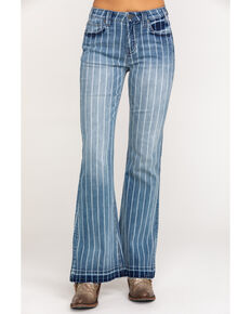 Rock & Roll Cowgirl Women's High Rise Stripe Trouser, Blue, hi-res