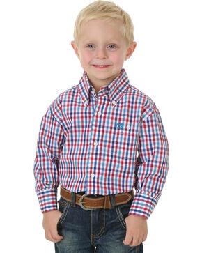 Wrangler Boys' Classic Plaid Long Sleeve Shirt , Am Spirit, hi-res