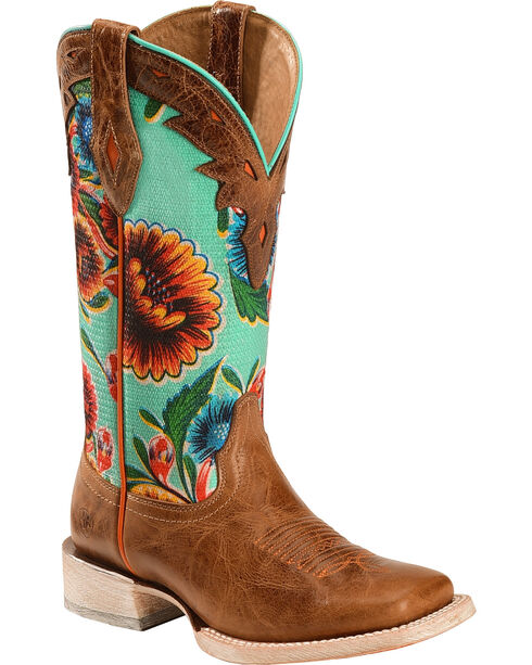 Ariat Women's Floral Textile Circuit Champion Western Boots, Brown, hi-res