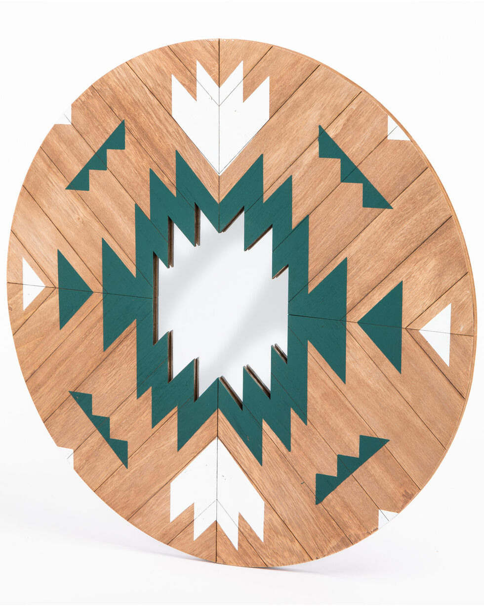 BB Ranch Aztec Wood Dream Catcher Mirror, Turquoise, hi-res