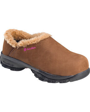 Nautilus Women's Comp Toe ESD Fleece Lined Safety Clogs, Brown, hi-res