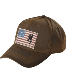Browning Men's American Flag Ball Cap, Brown, hi-res