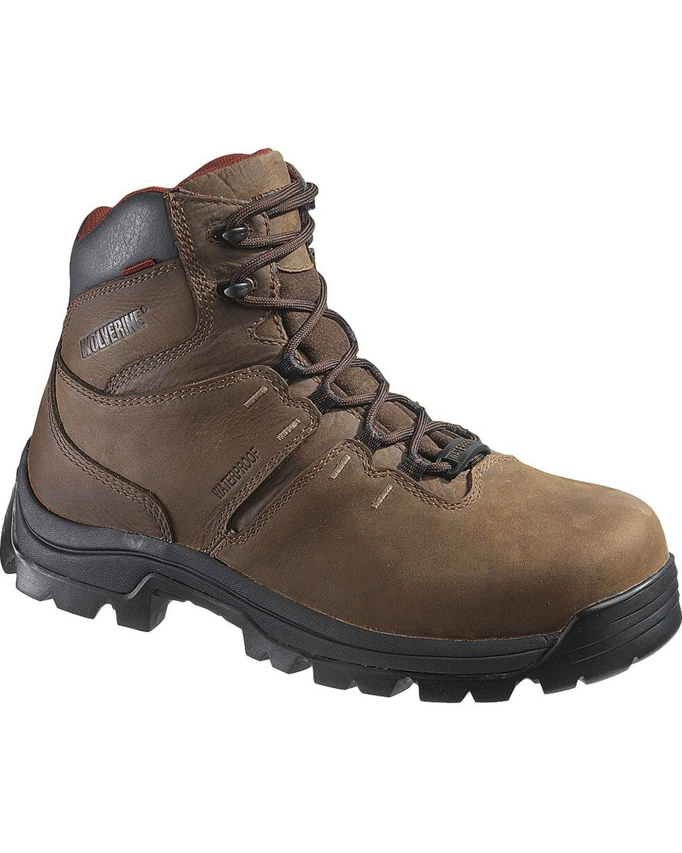 "Wolverine Men's 6"" Bonaventure Waterproof EH Work Boots, Brown, hi-res"