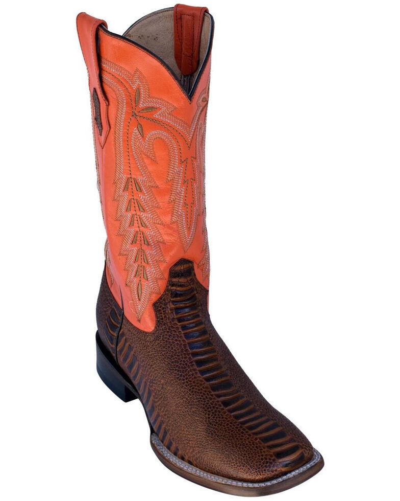 Ferrini Men's Ostrich Leg Print Western Boots - Square Toe, Brown, hi-res