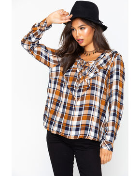 Velvet Heart Women's Plaid Lace Up Ruffle Shirt , Brown, hi-res