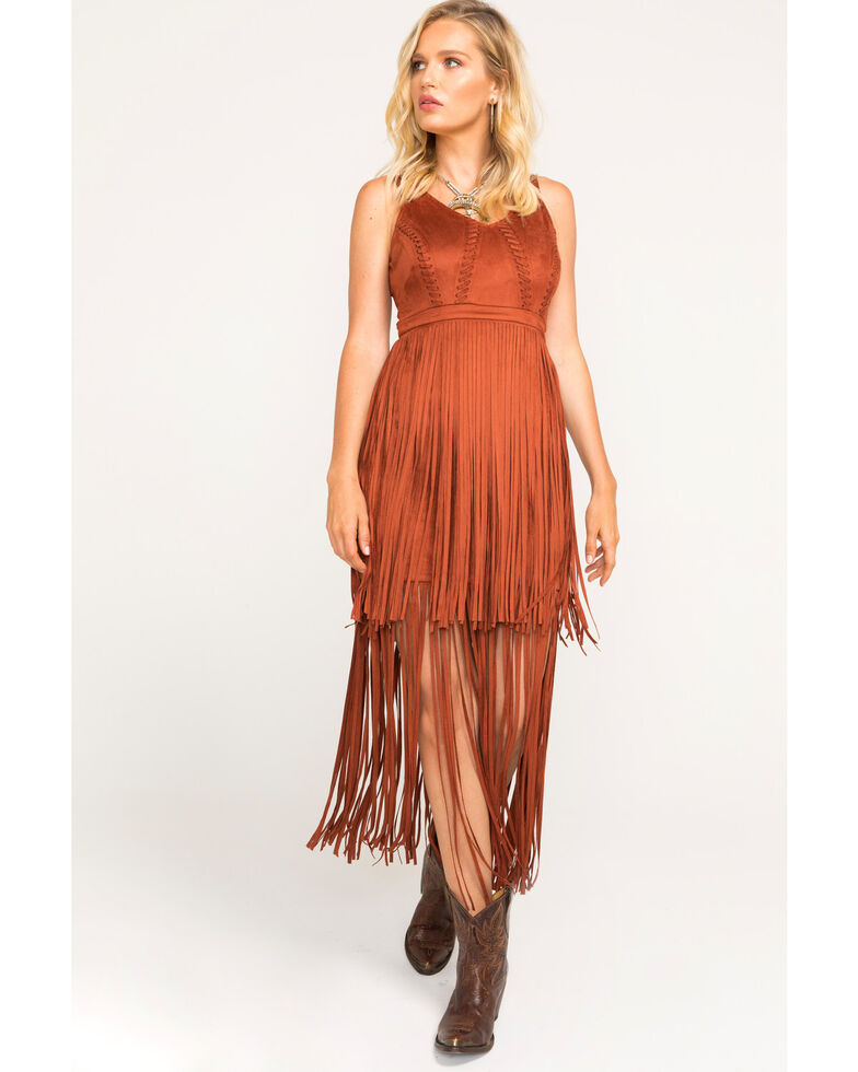 Idyllwind Women's Wild Nights Fringe Dress , Tan, hi-res