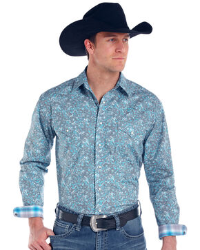 Panhandle Men's Print Rough Stock Lavaca Vintage Long Sleeve Shirt , Grey, hi-res
