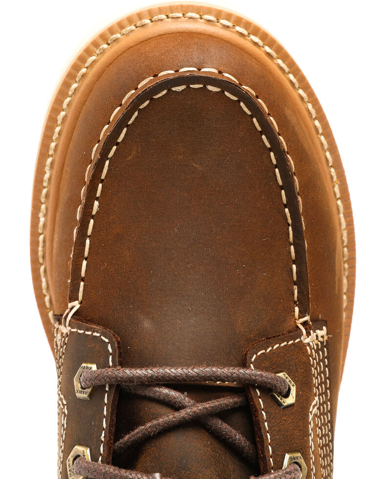 Hawx® Men's Grade Moc Distressed Wedge Work Boots - Moc Toe, Distressed Brown, hi-res