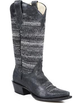 Roper Women's Fashion Fabric Snip Toe Western Boots, Black, hi-res