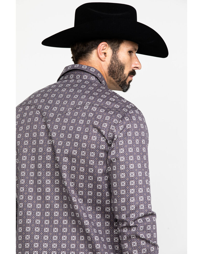 Rock & Roll Cowboy Men's FR Printed Floral Twill Long Sleeve Work Shirt , Charcoal, hi-res