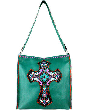 Montana West Women's Delila Embroidered Cross Tote, Turquoise, hi-res