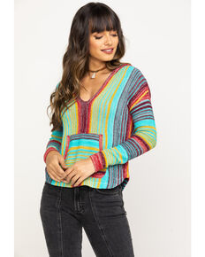 Rock & Roll Cowgirl Women's Vertical Stripe Hoodie, Multi, hi-res