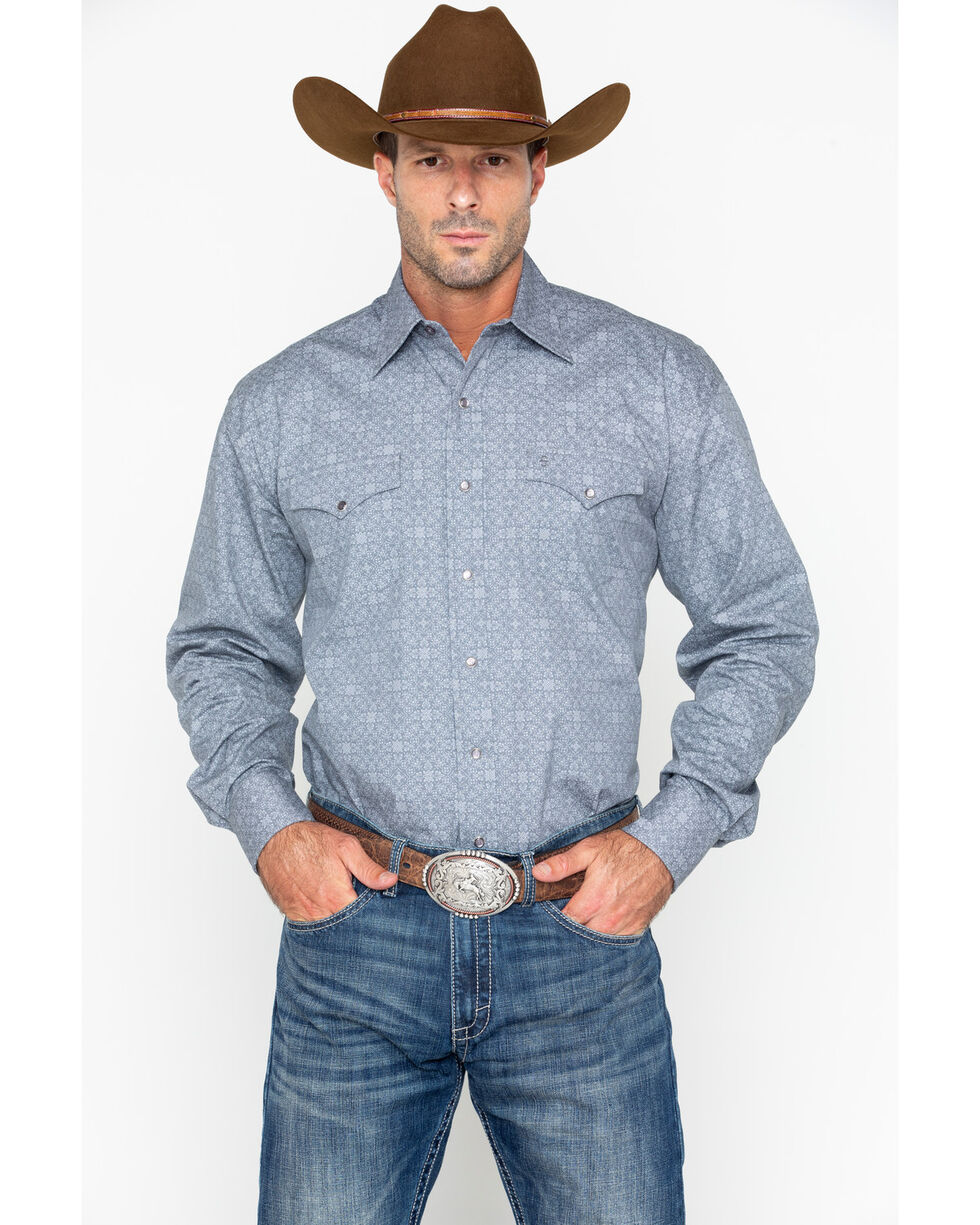 Roper Men's Grey Floral Print Long Sleeve Western Shirt, Grey, hi-res