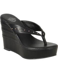 Milwaukee Leather Women's Black Studded Wedge Sandals , Black, hi-res