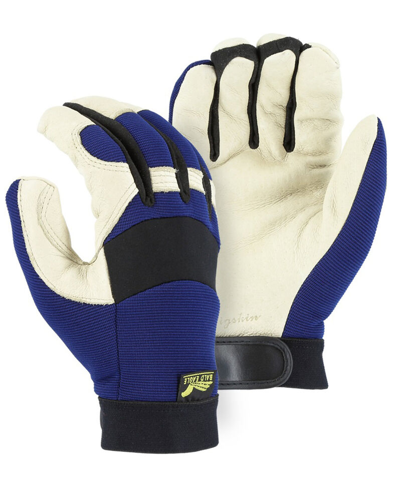 Durango Men's Winter Lined Bald Eagle Mechanic Gloves, Blue, hi-res