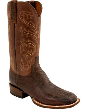 Lucchese Men's Handmade Stewart Chocolate Ostrich Leg Crepe Sole Horseman Boots - Square Toe, Chocolate, hi-res
