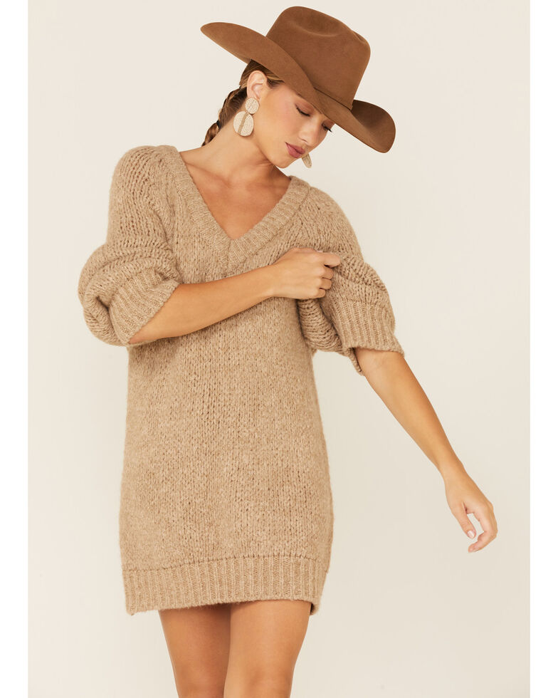 Sadie & Sage Women's Just The Vibes Pullover Dress , Oatmeal, hi-res