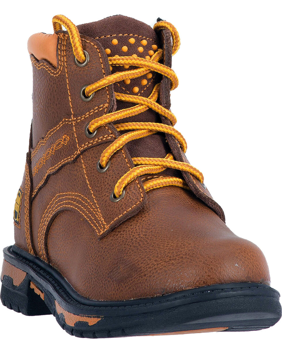 Dan Post Kid's Leather Zyon Lace-Up Work Boots, Brown, hi-res