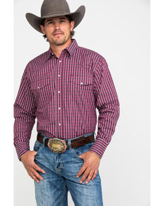 Wrangler Men's Wrinkle Resist Small Plaid Long Sleeve Western Shirt - Big & Tall , Red, hi-res
