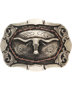 AndWest Bryce Vintage Two-Tone Steer Head Belt Buckle, Silver, hi-res