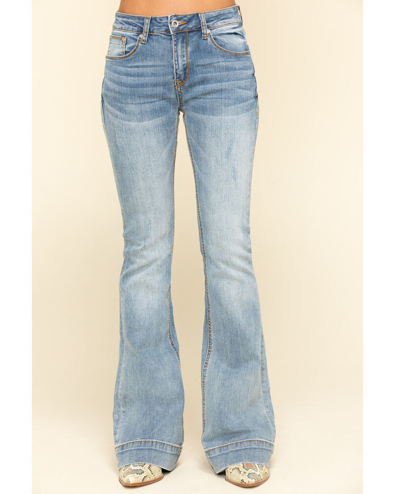Grace in LA Women's Light Wash Flare Jeans , , hi-res