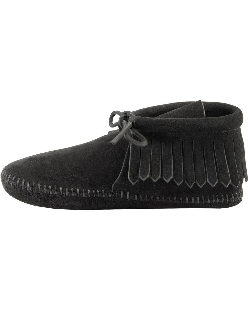 Minnetonka Fringed Soft Sole Moccasins, Black, hi-res