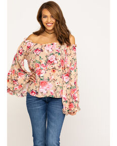 93ce22a8 Red Label by Panhandle Women's Coral Floral Crinkle Off Shoulder Bell Sleeve  Top