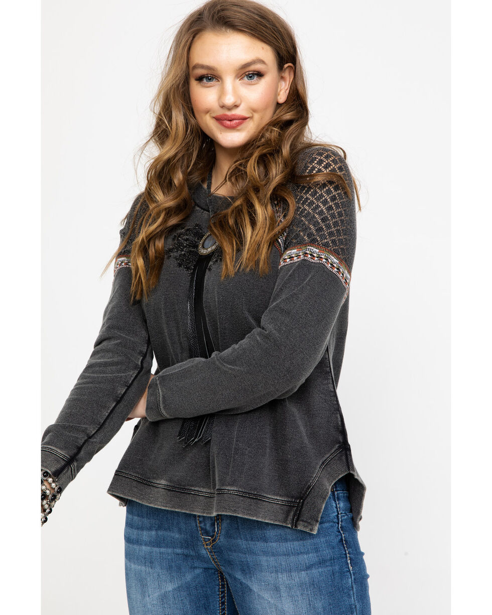 Shyanne Women's Mineral Washed Embroidered Mesh Pullover Top , Charcoal, hi-res