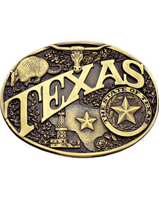 Montana Silversmiths Texas State Heritage Attitude Belt Buckle, Gold, hi-res