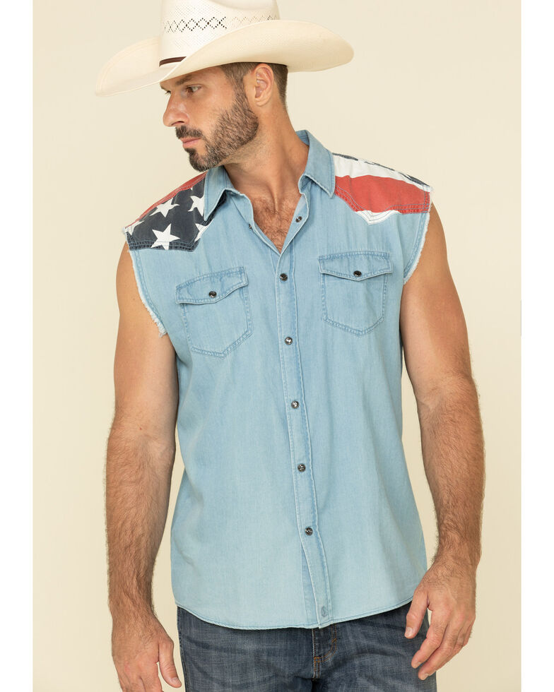 Cody James Men's State Of The Union Bubba Sleeveless Snap Western Shirt , Blue, hi-res