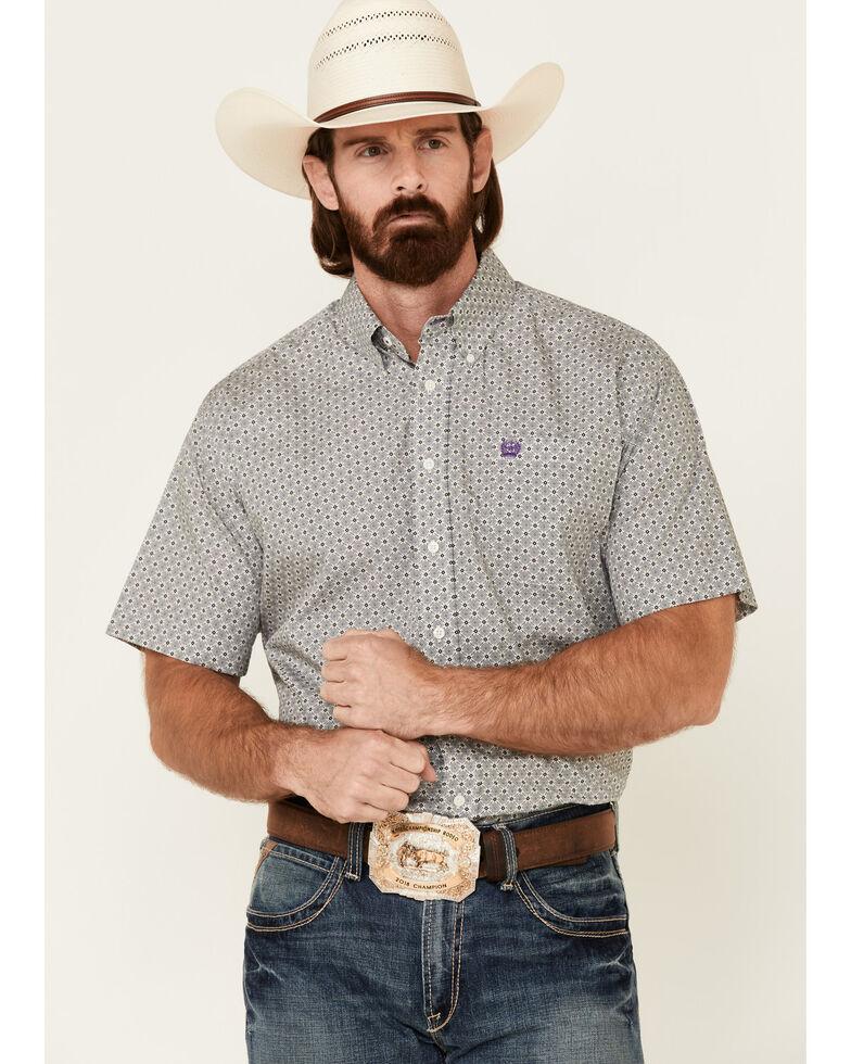 Cinch Men's White Floral Geo Print Short Sleeve Western Shirt - Big, White, hi-res