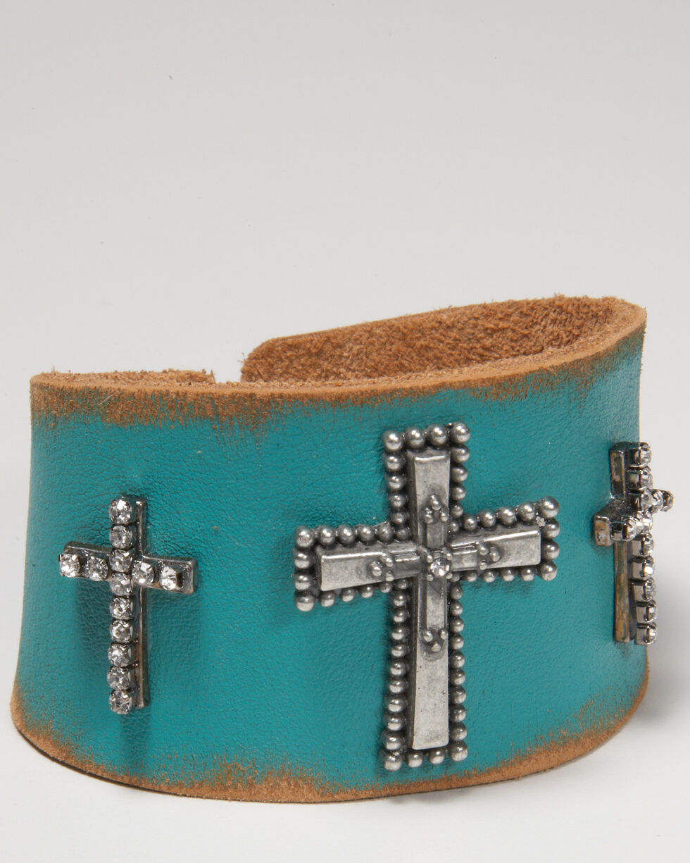 Cowgirl Confetti Women's Blue Trifecta Cross Cuff , Turquoise, hi-res