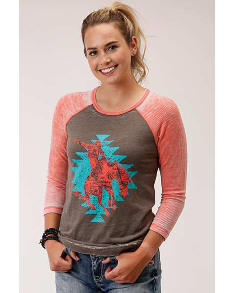 Roper Women's Bucking Horse Graphic 3/4 Sleeve Raglan Tee, Red, hi-res