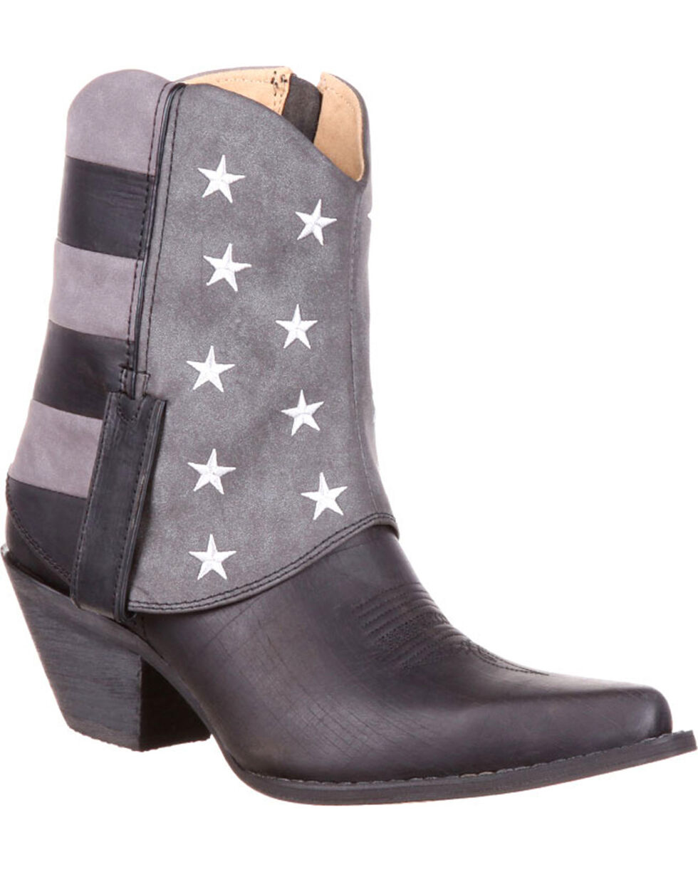 Durango Women's Fold-Over Flag Western Booties, Black, hi-res