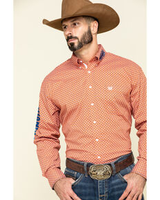 Rough Stock By Panhandle Men's Pinedale Vintage Geo Logo Long Sleeve Western Shirt , Orange, hi-res