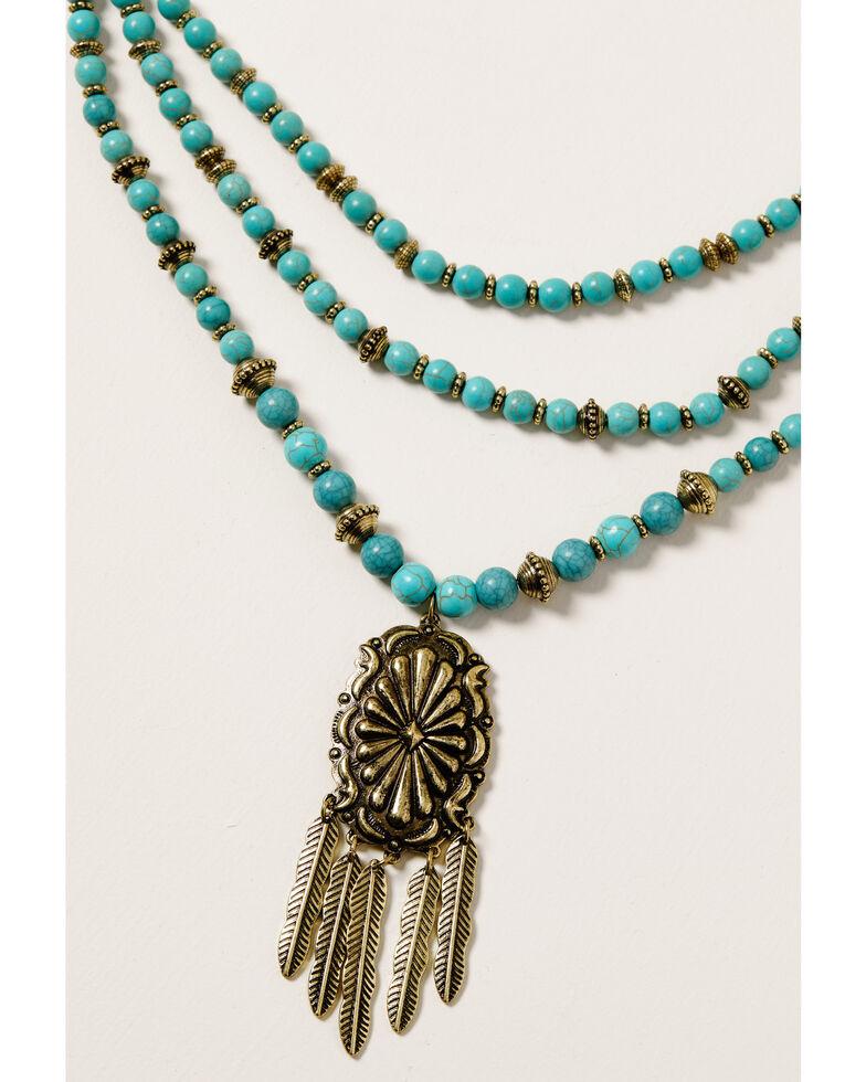 Shyanne Women's Golden Dreamcatcher Multi Strand Turquoise Beaded Set, Gold, hi-res