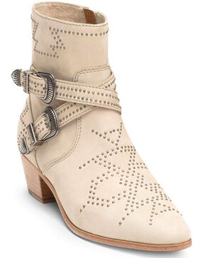 Frye Women's Ellen Ivy Deco Buckle Booties - Medium Toe, Ivory, hi-res