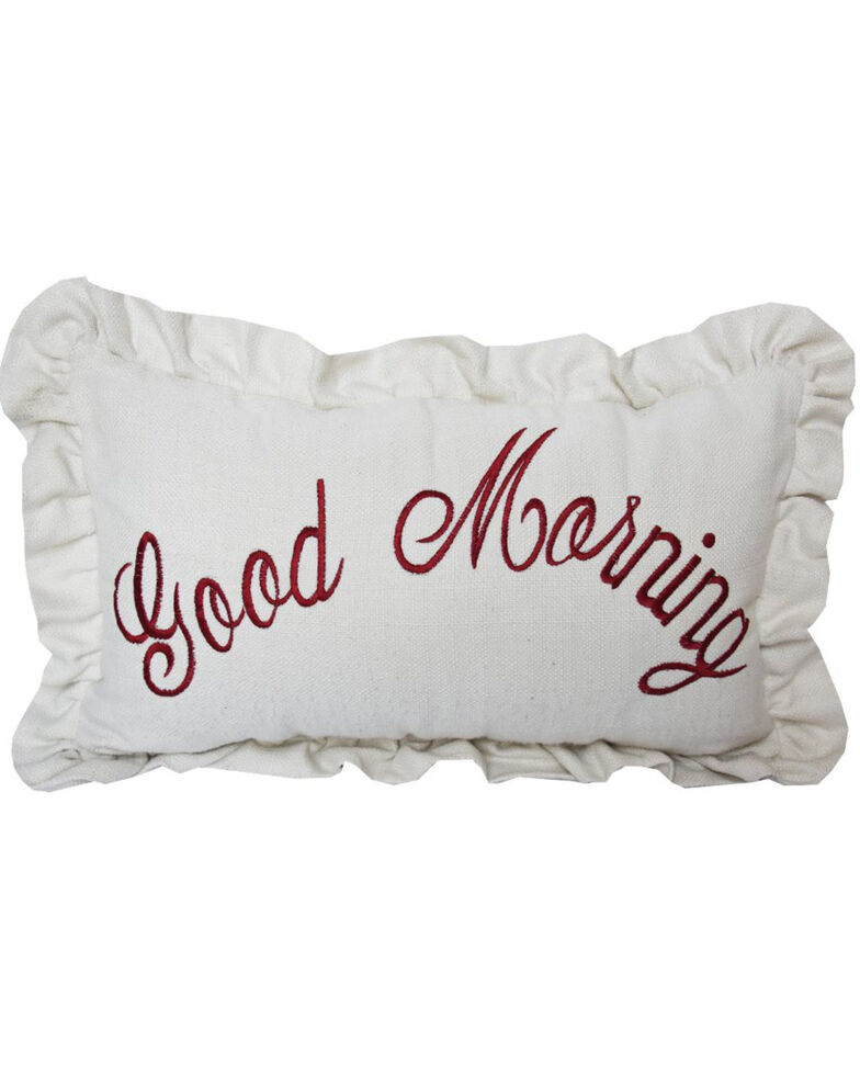 HiEnd Accents Good Morning Embroidered Pillow, White, hi-res