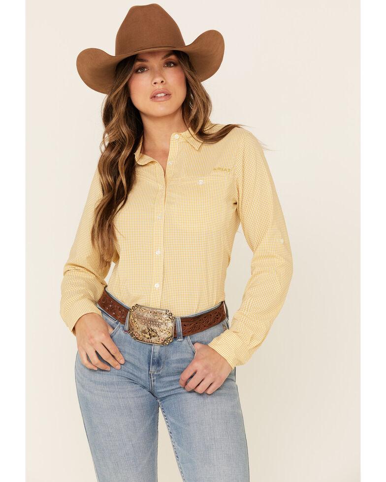 Ariat Women's Local Honey Check Plaid Ventek Stretch Long Sleeve Western Core Shirt , Dark Yellow, hi-res