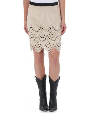 Wrangler Women's Laser Cut Scalloped Skirt, Sand, hi-res