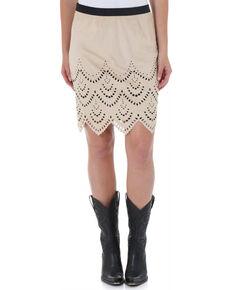 Wrangler Women's Laser Cut Scalloped Skirt, Sand, hi-res