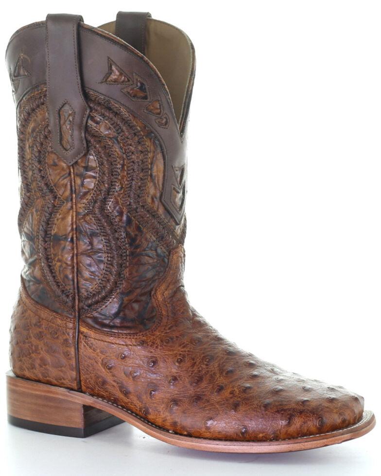 Corral Men's Ostrich Overlay Exotic Boots, Cognac, hi-res