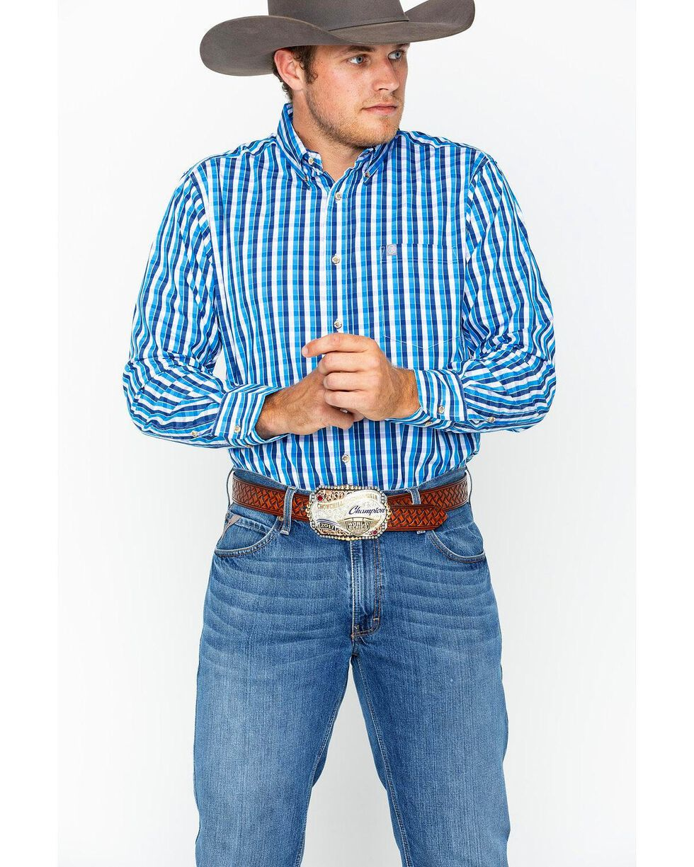 Wrangler Men's Blue Plaid Performance Western Shirt , Blue/white, hi-res