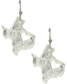 Montana Silversmiths Women's My Heart Belongs in Texas Earrings, Silver, hi-res