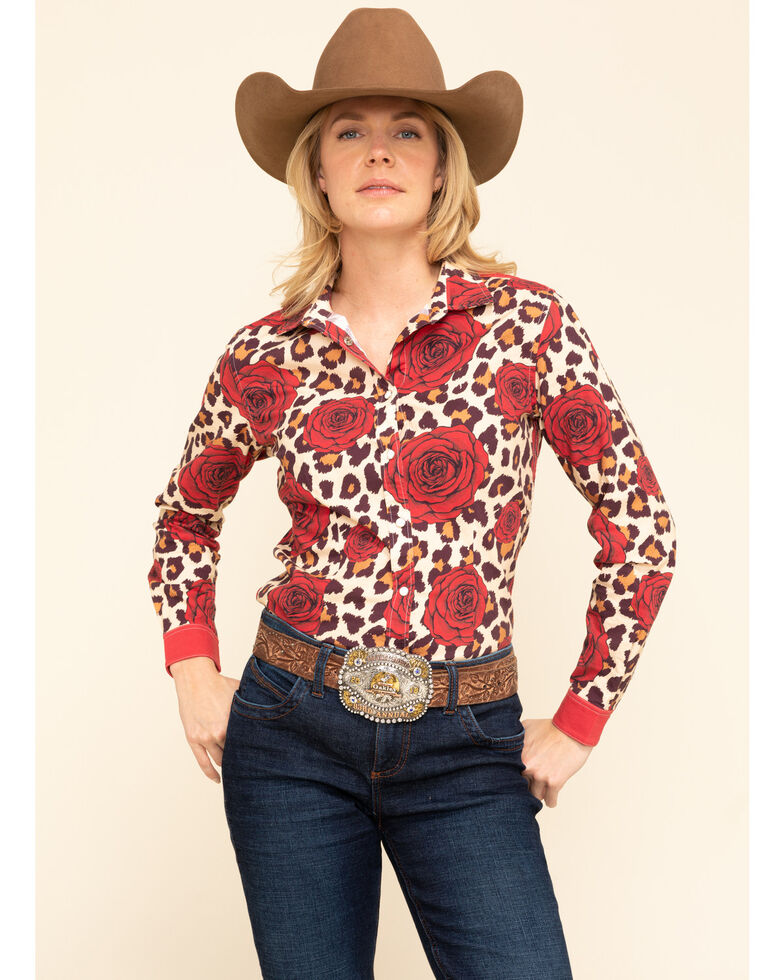 Ranch Dress'N  Leopard & Rose Long Sleeve Western Shirt, Multi, hi-res